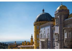 葡萄牙辛特拉卡斯凯斯的城堡在阳光和蓝天_10186982