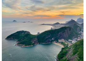 航拍日落天空下巴西里约热内卢美丽的科帕卡_8990582