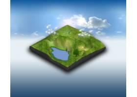 蓝天上有池塘的3D景观地形_8210752