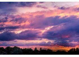 美丽生动的夕阳天空和昏暗的森林景观_13060766