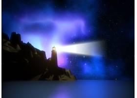 空间天空衬托下的灯塔的3D渲染_1137554
