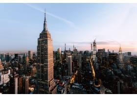 纽约市帝国州和摩天大楼的美丽景色_8857815
