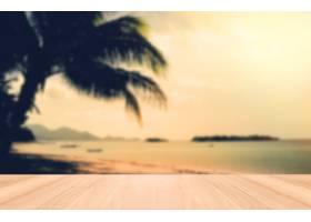 泰国苏梅海滩上的透视木和日落复古色调_1015080