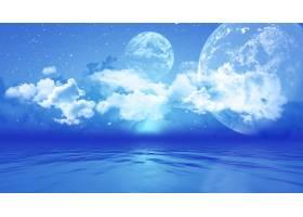 海洋上空有行星的3D景观_4783088