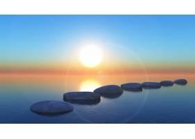 日落时分大海中的3D垫脚石_8033938