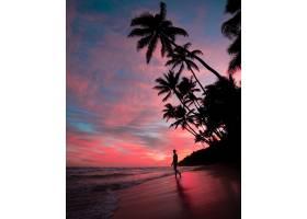 日落时海滩上男性的剪影粉色天空中有令人_10376691