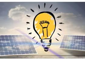 带太阳能电池板的彩色灯泡_926537