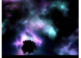 带有星云和星星的树木剪影_8420008