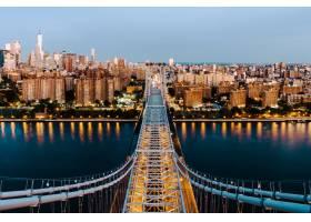 昆斯伯勒大桥和纽约市建筑的航拍_8857723