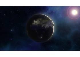 星云天空中地球的3D空间背景_3336332