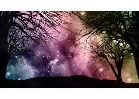 星空夜空中有树木的剪影_3142088