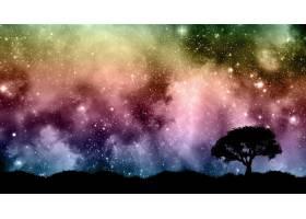 星空夜空中有树木的剪影_3142089