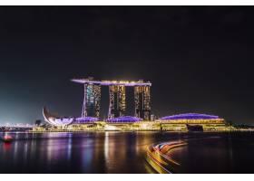 新加坡码头湾夜景长时间曝光_4693943