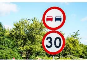 指示限速三十的标志禁止在绿树上超车_11678184