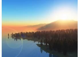 夕阳天空衬托下的树木3D景观_3961378