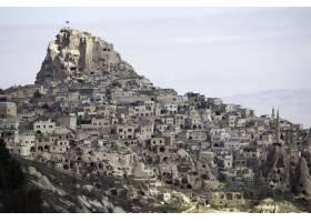 多云天空下土耳其卡帕多西亚Uchisar城堡的_9282514