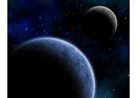 夜空中有虚构行星的3D空间背景_10448496