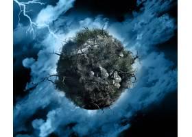 在有闪电的暴风雨天空中用枯死的树木和灌_1245184