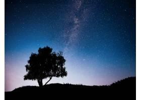 夜空星空山上树木的剪影银河里有孤零零_9143636