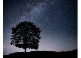 夜空星空山上树木的剪影银河里有孤零零_9143661