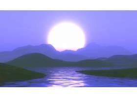 在紫色落日天空的衬托下3D山脉和湖泊相映_4782648