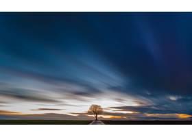在美丽的五颜六色的天空下青草丛生的田野_8943466