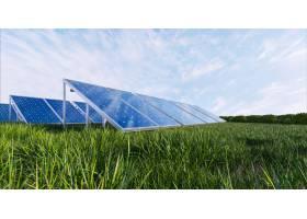 天空背景上的太阳能电池板3D渲染_12925191