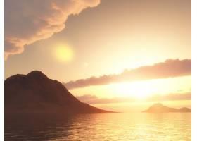 在夕阳天空的衬托下对海洋中的一座山进行_12687781