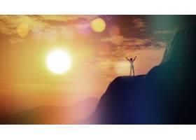 在夕阳天空的衬托下悬崖上举起双臂的女性_1166062