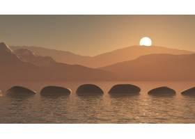 在夕阳山景的映衬下海洋中的3D垫脚石_4007397