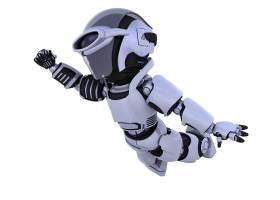 在天空中飞行的机器人的3D渲染_1166149