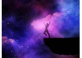在太空夜空的衬托下一位快乐的女性的3D剪_3165914