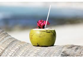 加勒比海海滩棕榈树上的吸管鸡尾酒_10802719
