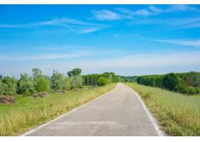 一条被绿树环绕的水泥路天空一片蔚蓝_12947495