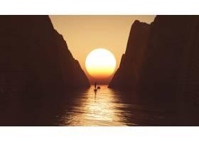 一艘驶向夕阳天空的游艇的3D渲染_1098362