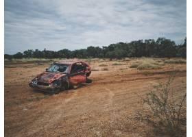 一辆破旧的汽车停在一片绿树成荫的干草地上_7841634