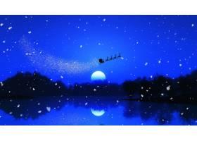 与圣诞老人和他的驯鹿一起在夜空中的3D树木_3619017