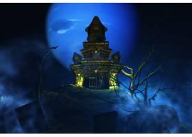 3D万圣节背景带有诡异的城堡_3142062