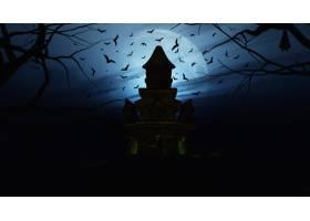 3D万圣节背景带有诡异的城堡_3142063