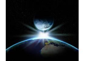 3D地球和带有明亮星星的奇幻星球_3142045