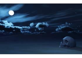 3D头骨在夜空的映衬下部分埋在沙子里_3142041