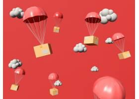 3D插图带着降落伞在天空中飞翔的礼品盒_12955263