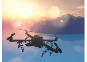 3D无人机在夕阳的天空中飞越海洋_2483078