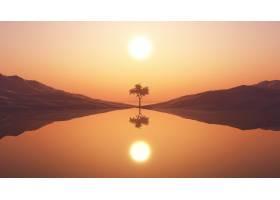 3D树衬托着夕阳的天空_4943509