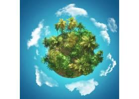 3D热带背景蓝天上戴着棕榈树手套云彩盘_8210773