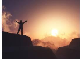3D男性举起双臂站在山上映衬着夕阳的天空_7154408