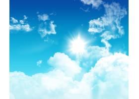 3D蓝天带着蓬松的白云_2295922