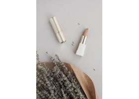 平铺装饰配以棕色唇膏和植物_5571598