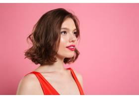 美丽的黑发女子侧视照片妆容鲜艳向一旁_7439924