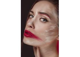 彩绘脸部的时装模特美容时尚艺术写真彩_7020836